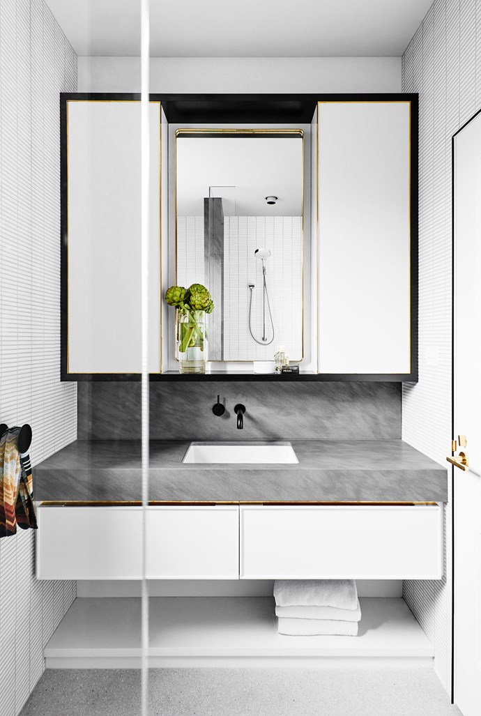 """Matte-finish black tapware is a bold punctuation point in this luminous bathroom by [Flack Studio](http://flackstudio.com.au/?utm_campaign=supplier/