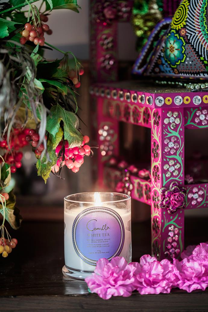 "Camilla enhances the home's ""great energy"" with pretty embellished altars and scented candles."