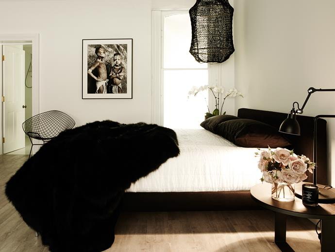 The Macleay apartment is decked out in designer Pamela Makin's distinctive monochrome palette. Photo: Prue Ruscoe