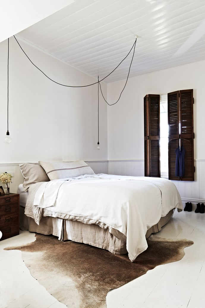 The White Room in the Vintage House Daylesford features a king sized bed with luxury linens. Photo: Armelle Habib | Styling: Julia Green