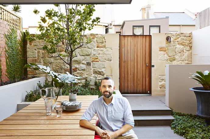 "In terms of entertaining, this area has become the new hub. ""A significant part of the brief was not just to improve the courtyard space and its connection to the house but also its connection to the laneway behind, which is communally owned,"" says Tom. ""The owners regularly have drinks with their neighbours and it's very easy now to spill out into that space."" Ornamental pear under planted with native violets and gardenias. Bronte **table** from [Eco Outdoor](https://www.ecooutdoor.com.au/?utm_campaign=supplier/