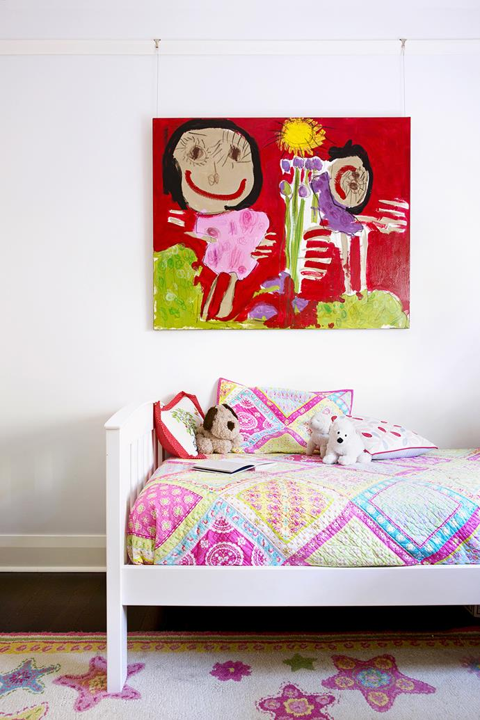 """In one of the daughters' rooms, bright colours can easily be changed and updated to suit the child's tastes as she grows.  **Bed** from [Boori](http://www.boori.com/?utm_campaign=supplier/