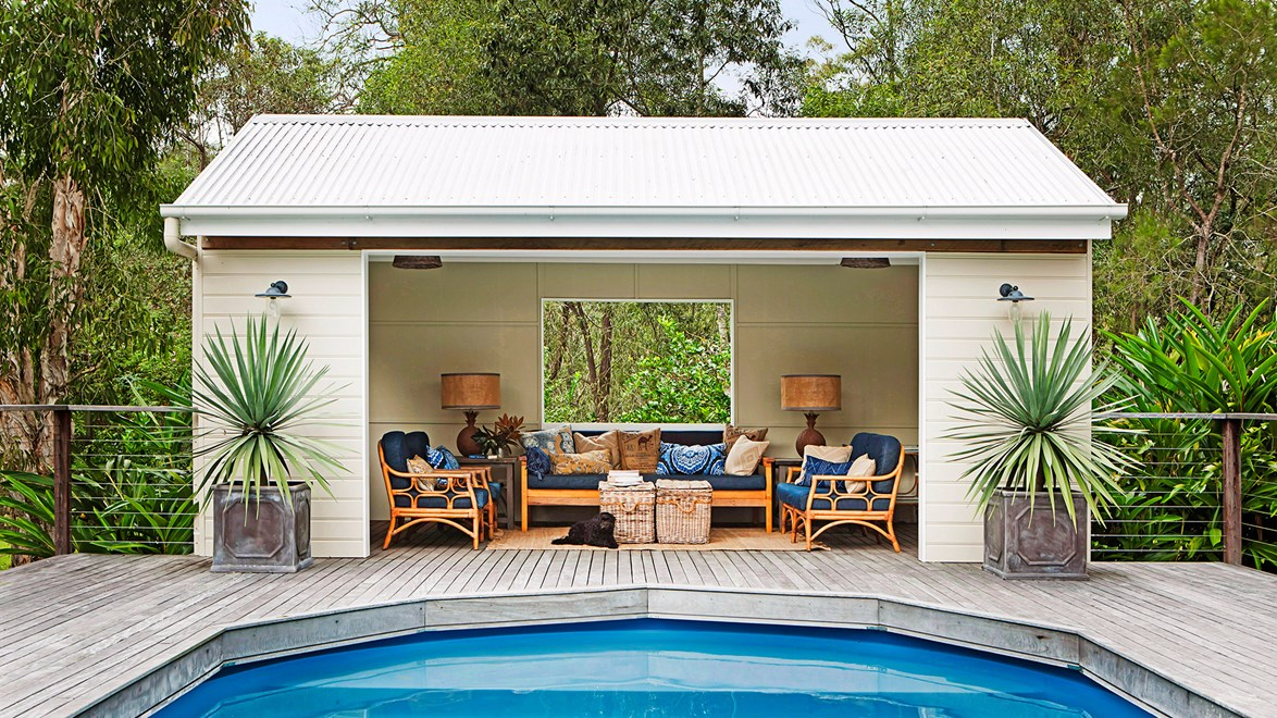 """A poolside cabana creates extra living space away from the house and is just the thing for gathering with friends and family in between swims. The only challenge will be deciding who gets to take a nap here after lunch. If you don't have a pool, it may be more affordable than you think - read more about [what to consider when buying a pool](http://www.homestolove.com.au/yes-you-can-afford-a-pool-2261/?utm_campaign=supplier/