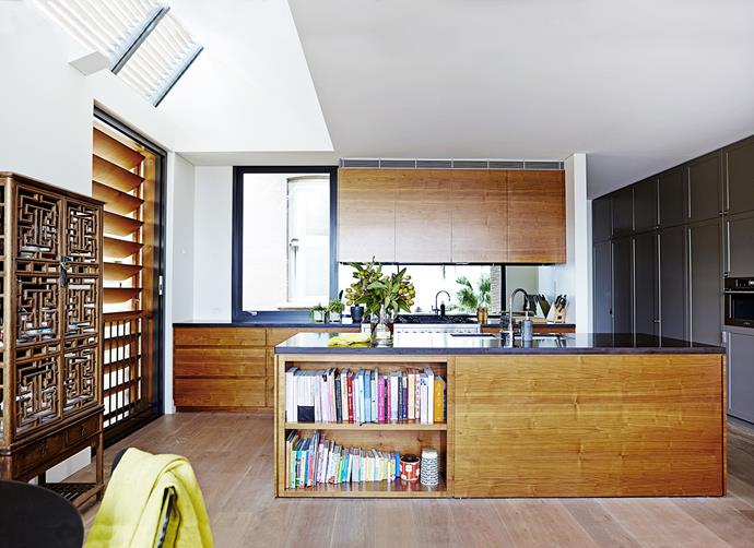 "Appliances are integrated so the kitchen doesn't intrude upon the living area. Walnut-veneer **joinery** by [Swagman Joinery](http://www.swagmanjoinery.com.au/?utm_campaign=supplier/|target=""_blank"")). [Caesarstone](http://www.caesarstone.com.au/?utm_campaign=supplier/