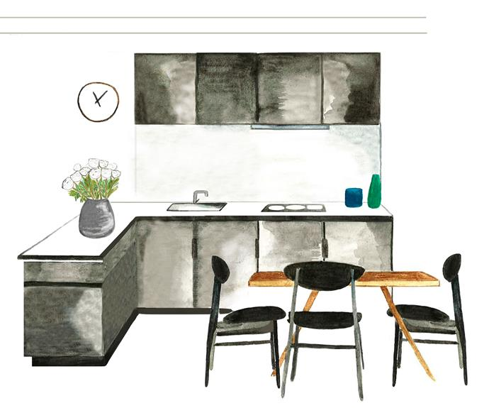 L-shaped kitchens can easily incorporate a dining table. Illustration: Christina Banos