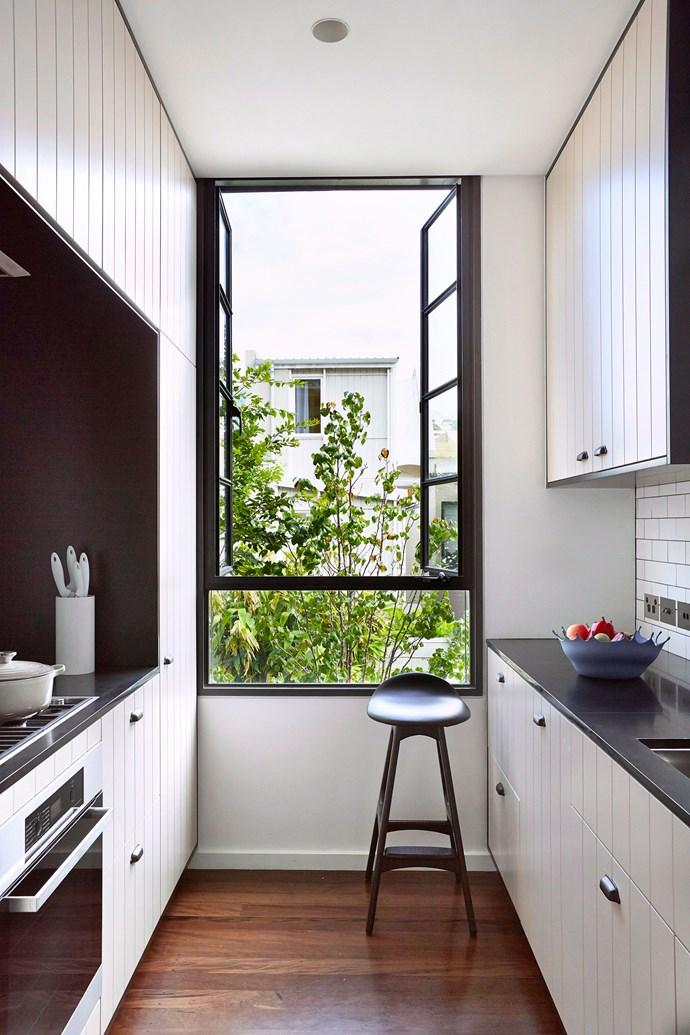 This is a classic gallery kitchen design and is a highly efficient use of space. Photo: John Paul Urizar / bauersyndication.com.au