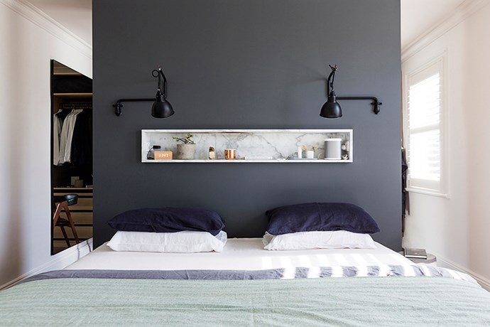 """""""One of the rooms was extremely tiny so I made it into a walk-in wardrobe and created a bigger bathroom,"""" Chloe says. """"I cut out two parts of the wall in the main bedroom to access the wardrobe.""""  **Bed linen** from [Planet Furniture] (http://planetfurniture.com.au/?utm_campaign=supplier/