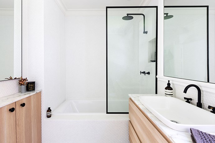"""The mirrors and shower screen were custom made, while the basin and bath are from [Candana](http://www.candana.com.au/?utm_campaign=supplier/