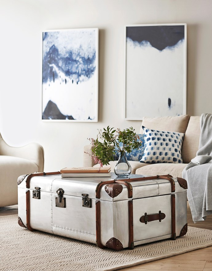 """**Trunks:** Simple and elegant, the trunk offers convenient storage, a display opportunity and a dash of vintage flair.  Timothy Oulton Globetrekker aluminium-plated coffee table (113x73x43cm), $5655 from [Coco Republic](http://www.cocorepublic.com.au/?utm_campaign=supplier/ target=""""_blank"""")."""