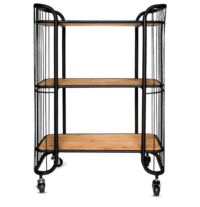 """**Trolleys:** Savoy metal three-tier kitchen trolley with wooden shelves, $249, [Freedom](http://www.freedom.com.au/?utm_campaign=supplier/ target=""""_blank"""")."""