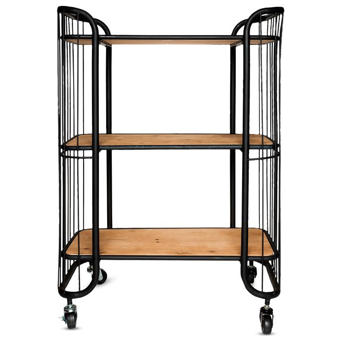 "**Trolleys:** Savoy metal three-tier kitchen trolley with wooden shelves, $249, [Freedom](https://www.freedom.com.au/furniture/living-room/storage-units/184/23518759/savoy-3-tier-kitchen-trolley|target=""_blank"")."