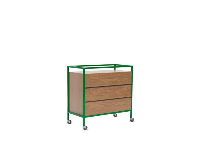 """**Trolleys:**  North metal and American oak veneer tallboy on castors, $3840 from [Jardan](http://www.jardan.com.au/?utm_campaign=supplier/ target=""""_blank"""")."""