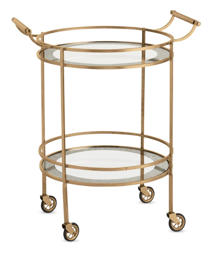 """**Trolleys:** Wade brass bar cart with glass shelves, $1910 from [Boyd Blue](http://www.boydblue.com/?utm_campaign=supplier/ target=""""_blank"""")."""