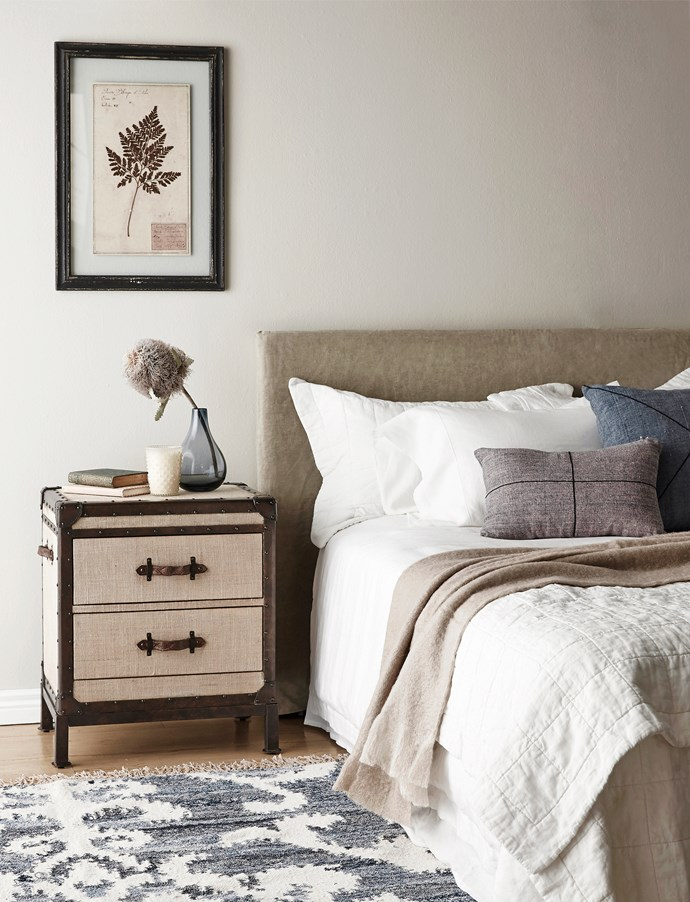 """**Trunks:** Redford Trunk hardwood bedside table with leather handles, $654 from [Pottery Barn](http://www.potterybarn.com.au/?utm_campaign=supplier/ target=""""_blank"""")."""