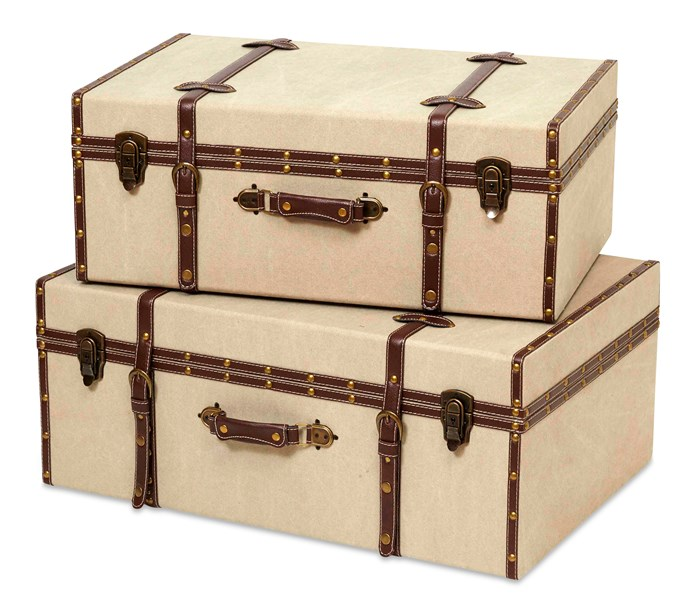"""**Trunks:** Vintage Retro linen-covered suitcases, $135 (small) and $165 (large), [Lifestyle Home and Living](http://lifestylehomeandliving.com.au/?utm_campaign=supplier/ target=""""_blank"""")."""