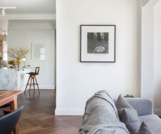 Lounge room with parquetry floor