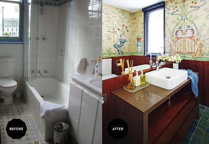 The old bathroom was looking tired and bland. In the new design, the mirrored wall amplifies the effect of the De Gournay Jardineres & Citrus Tree wallpaper from [Milgate](.