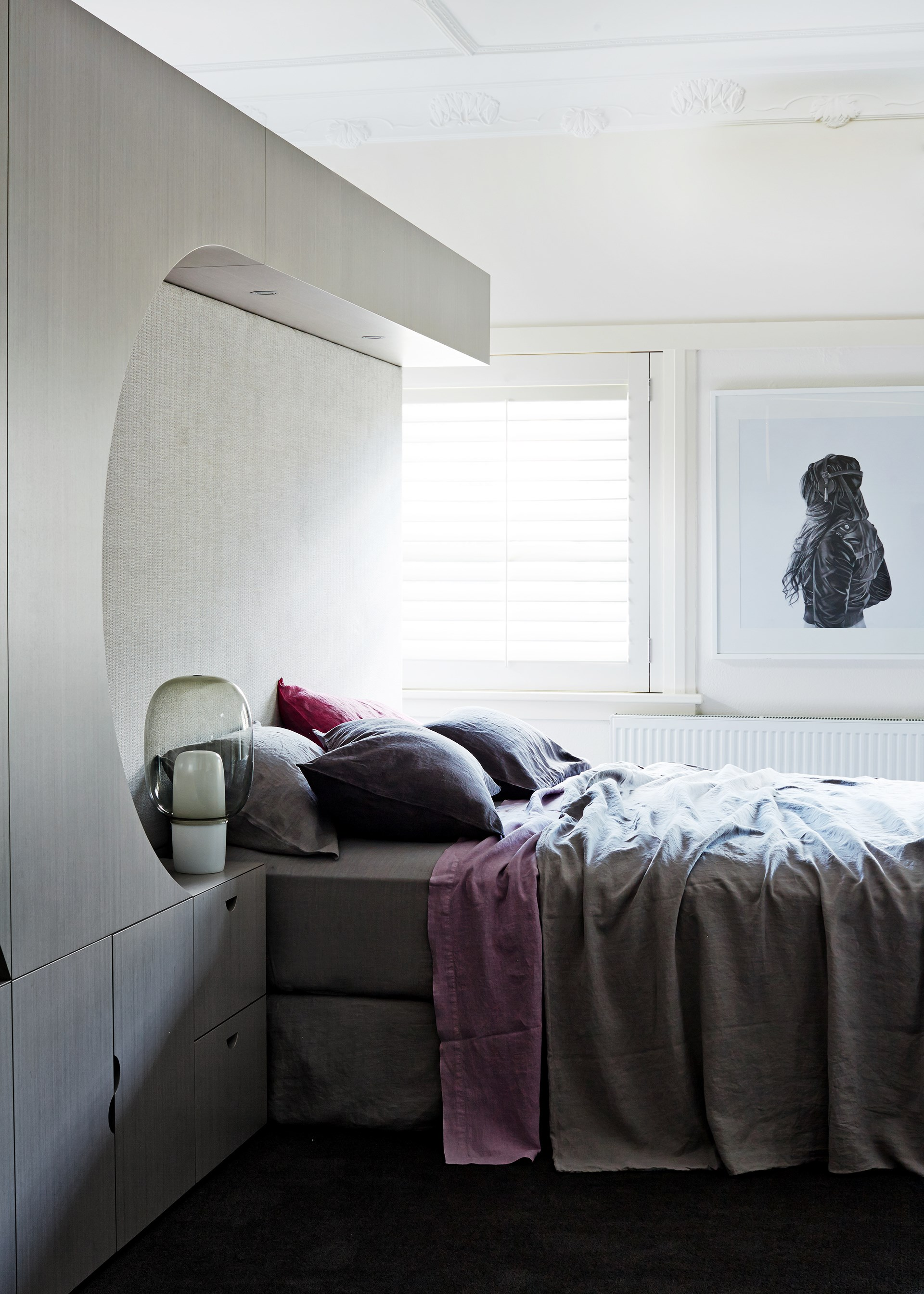 "Due to it's woven quality, linen is available in soft muted colours that work beautifully in the moody bedroom of this [1930s Melbourne estate](http://www.homestolove.com.au/respectful-revamp-for-melbourne-grande-dame-2424|target=""_blank""). Photo: Sean Fennessy / *Belle*"