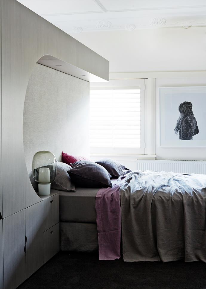 """""""We deal with period interiors all the time, but with ones as significant as this it's important to ensure the pieces we insert don't dominate,"""" says Fiona. In the main bedroom is a Foscarini Yoko **lamp** from [Space](http://www.spacefurniture.com.au/?utm_campaign=supplier/