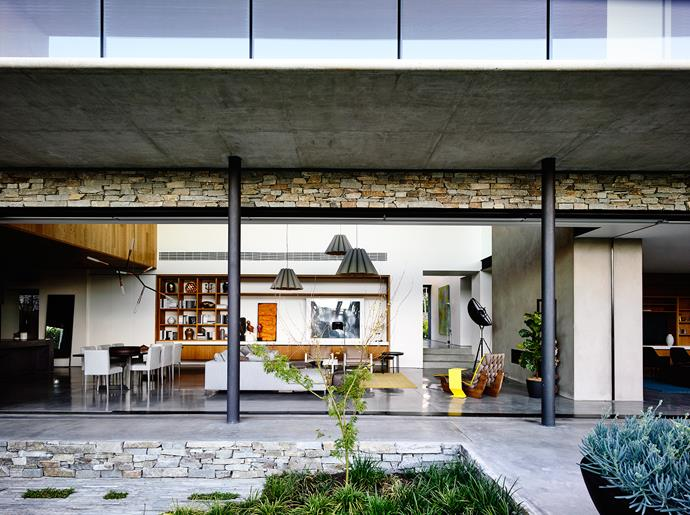 """The view from the rear garden into the expansive living area. """"The ground floor can be opened up or shut down depending on the intimacy or expansiveness required, as well as the seasons,"""" says Matt."""