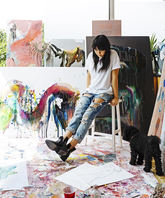 Artist Vicki Lee, surrounded by her own works, turned her home study in Sydney's Bellevue Hill into a paint studio.