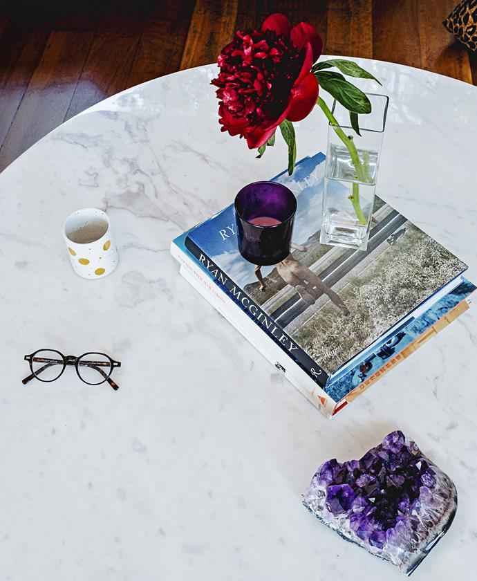 """The marble-topped coffee table from [MCM House](http://mcmhouse.com/?utm_campaign=supplier/