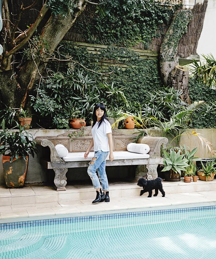 """Vicki and PK take a stroll around the pool. """"It's handy after a day at the beach,"""" Vicki says. """"But I still prefer swimming in the salt water of the ocean."""""""