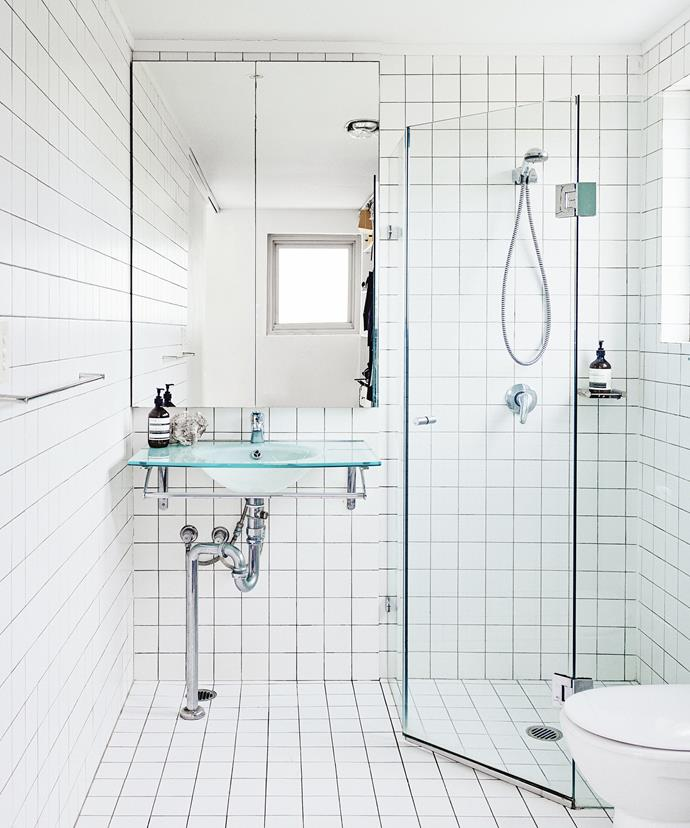 """Vicki loves the simplicity of her ensuite bathroom. """"Nothing beats clean white tiles,"""" she says."""