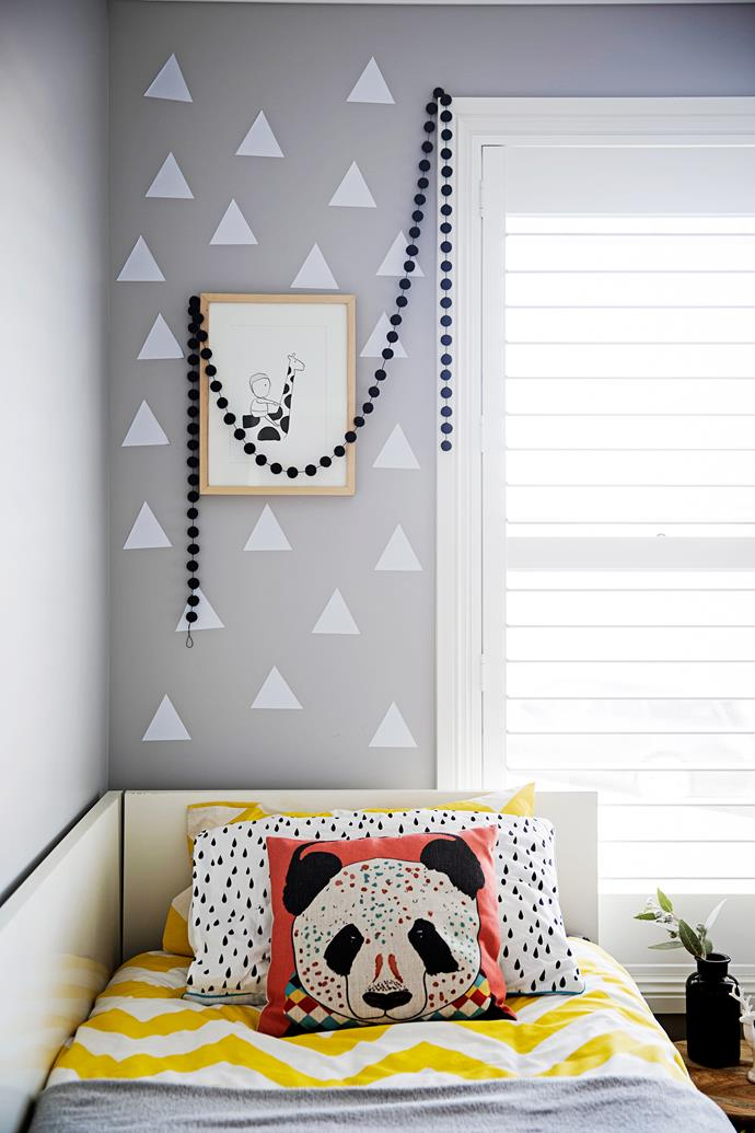 The original Lipp Design print above the bed is one of Brooke's favourite artworks.