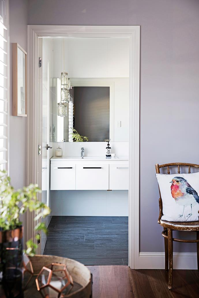 """For the ensuite floor, Brooke chose smart timber-look tiles from [Beaumont Tiles](http://www.beaumont-tiles.com.au/?utm_campaign=supplier/