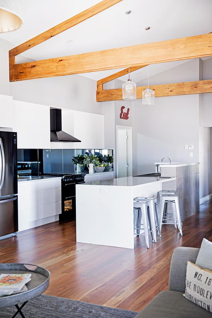 """The glass pendant lights in the kitchen are from [Masters Home Improvement](https://www.masters.com.au/masters/home.jsp