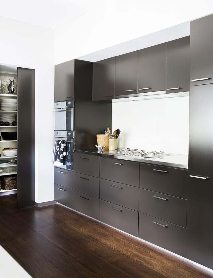 """When it comes to the kitchen, Meryl says there's no better surface than stainless steel. """"However, I would do this room differently now – my mind is buzzing with kitchen ideas, which we try out on our clients!"""""""