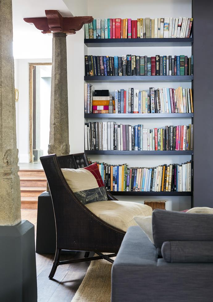 Even the books have been colour coordinated in this interior designer's home.
