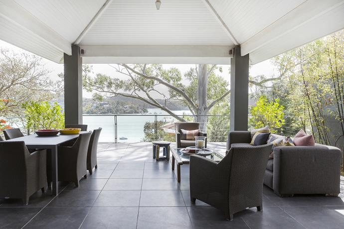 """The pavilion makes the most of the home's harbour views. Barcelona **lounge seating** from [Dedon](http://www.dedon.de/en/?utm_campaign=supplier/ target=""""_blank"""")."""