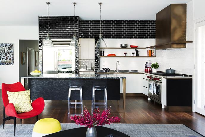 """""""Jennifer Angelatos from Core Interiors helped us choose the tiles. They make a real statement,"""" says Belinda. Subway **tiles** in Black and in White from [De Fazio Tiles & Stone](http://www.defazio.com.au/?utm_campaign=supplier/