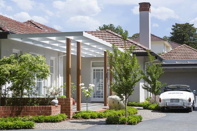 """The steel-framed pergola was designed to provide a sturdy support for the wisteria as it matures. Landscape design by Ian Menzies, landscape construction by [The Living Room](http://www.thelivingroom.com.au/?utm_campaign=supplier/