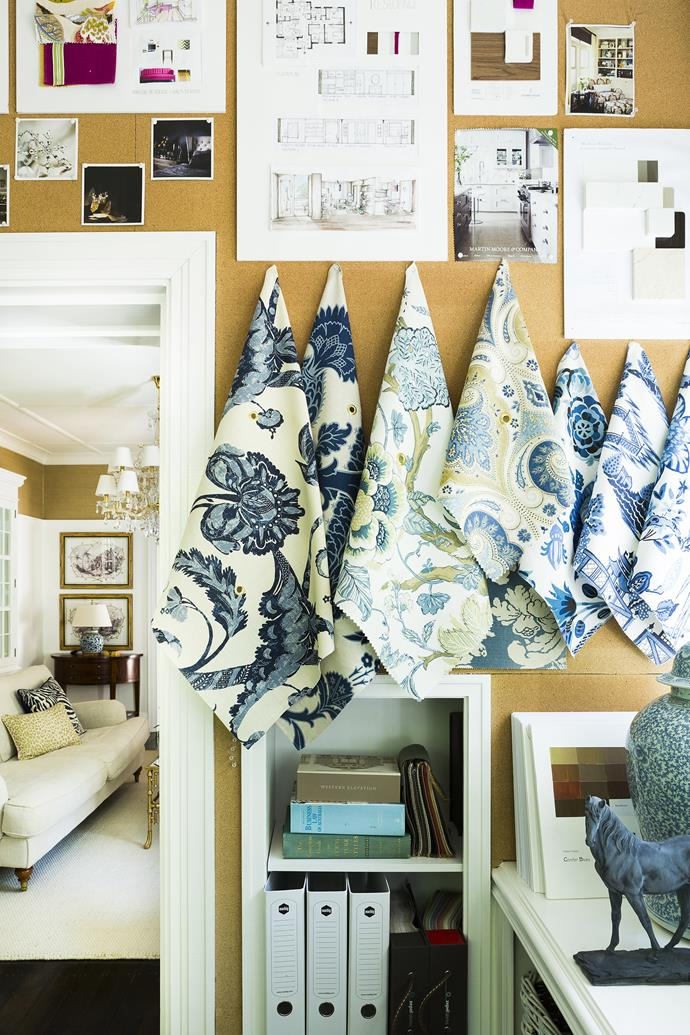 """I love navy blue and olive green so I hunted for fabrics in that palette to work the scheme around,"" Nadine says."