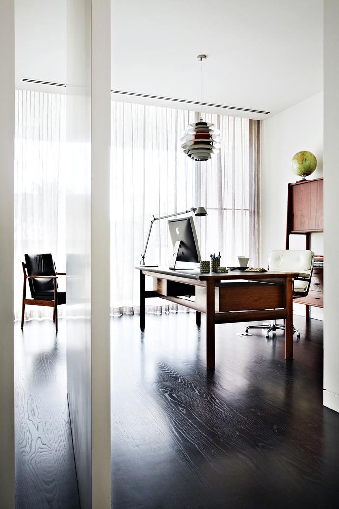 Kylie has furnished her workspace with restored classics, including a rosewood **desk** by Danish designer Arne Vodder.