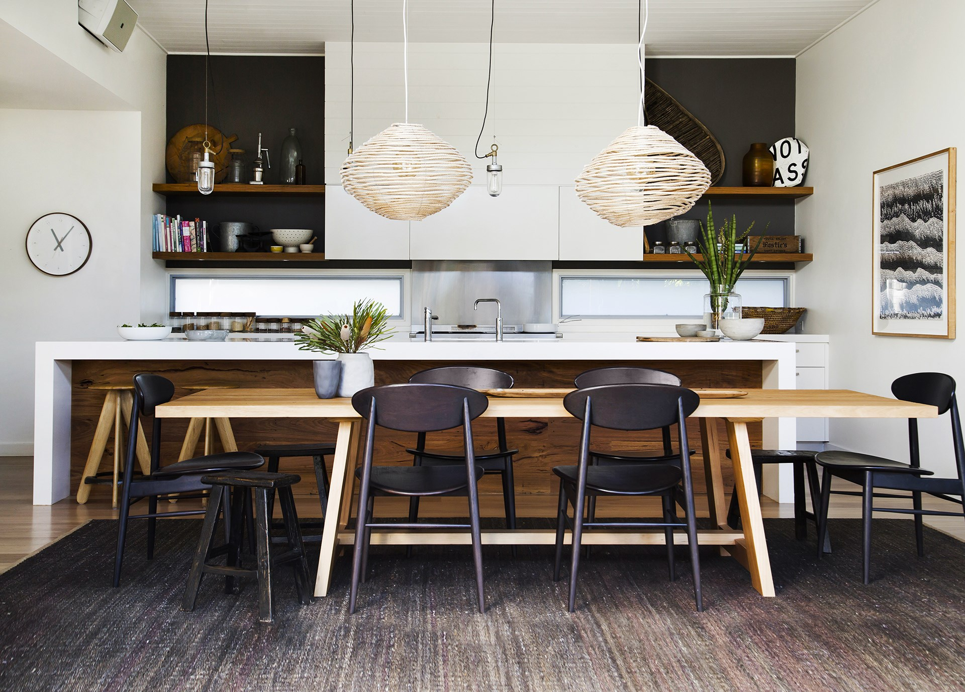 Mixed timbers and dark palette give this [holiday-style retreat](http://www.homestolove.com.au/gallery-a-family-friendly-beachside-home-2479) a contemporary-Australian vibe that echos its natural surroundings. Photo: Maree Homer / Australian House & Garden