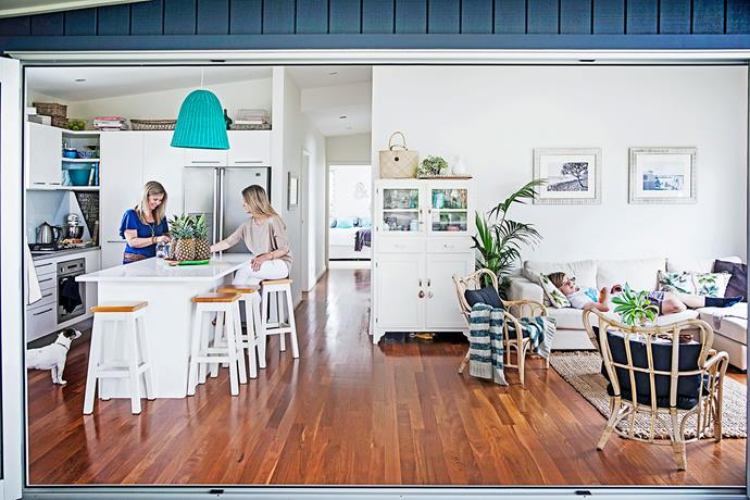 "The open-plan kitchen and living area flows seamlessly thanks to the tallowwood flooring. With a layout like this, the house is perfect for entertaining. ""We have friends over for drinks on weekend afternoons then, after deciding on food to order in, things usually end late,"" says Wendy."