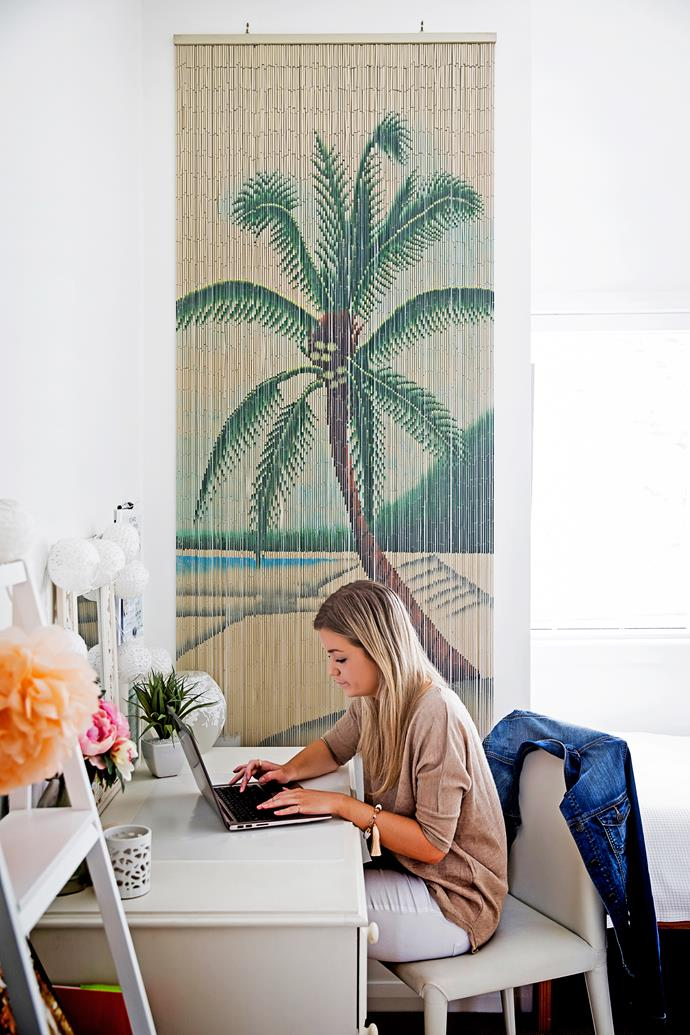 A beaded palm wall hanging is a fun addition to daughter Bethany's room.
