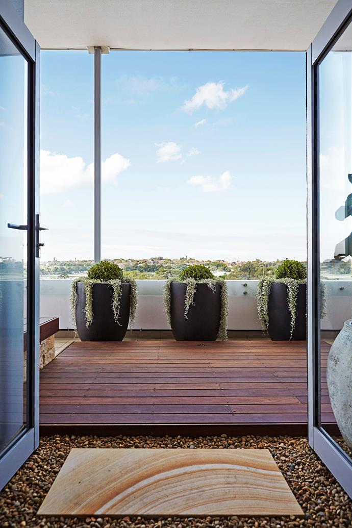 Sam recommends opting for a neutral colour palette on apartment balconies.