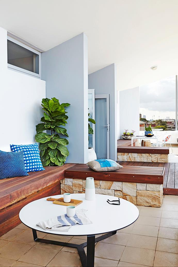 "Alongside custom-built benches, **cushions** are from [The Design Hunter](http://www.thedesignhunter.com.au/?utm_campaign=supplier/|target=""_blank"")."