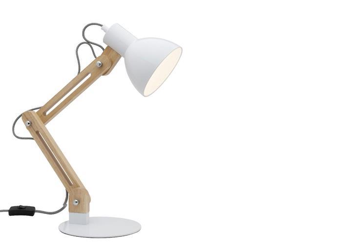 "Liteworks Mira desk lamp in white, $119 from [Officeworks](http://www.officeworks.com.au/shop/officeworks?utm_campaign=supplier/|target=""_blank"")."