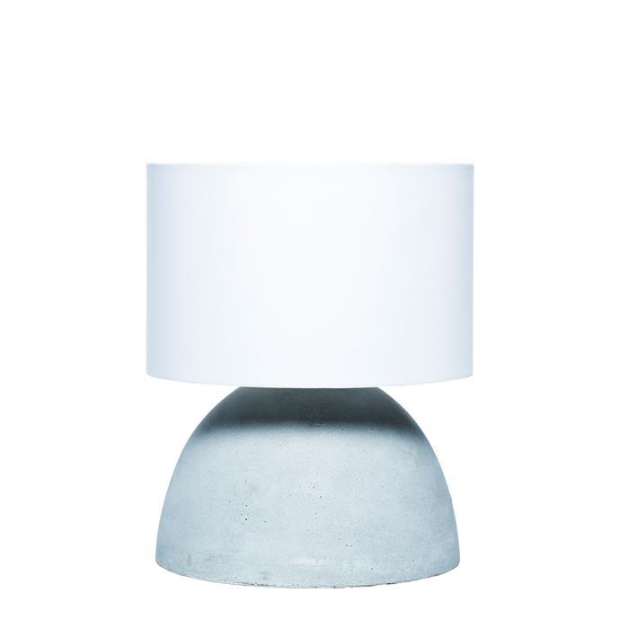 "Oscar concrete table lamp, $129.95 from [Milk & Sugar](http://milkandsugar.com.au/?utm_campaign=supplier/|target=""_blank"")."