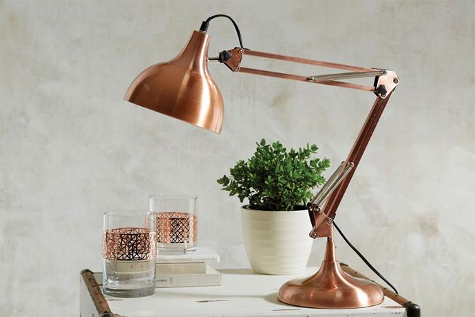 """Morgan & Finch Sid desk lamp in copper, $129.95 from [Bed, Bath N' Table](https://www.bedbathntable.com.au/?utm_campaign=supplier/