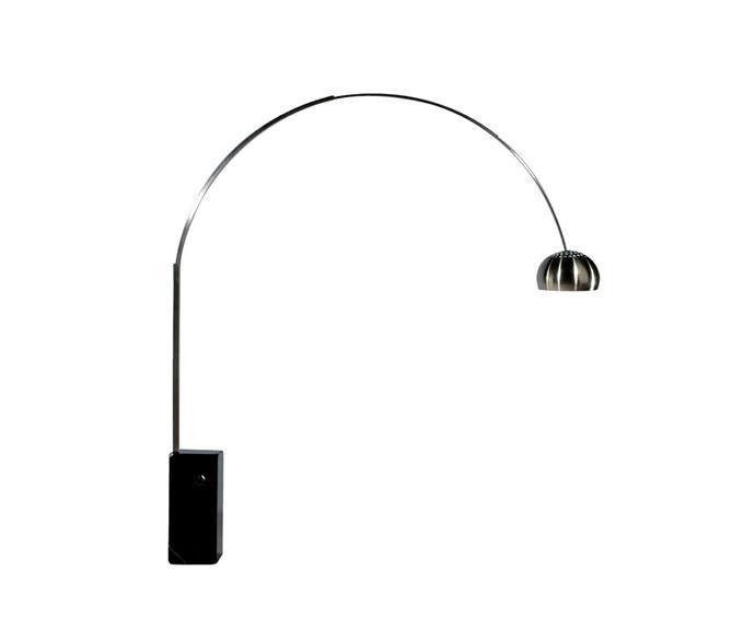 "Replica Achille Castiglioni Arco lamp, $595 from [Matt Blatt](http://www.mattblatt.com.au/?utm_campaign=supplier/|target=""_blank"")."