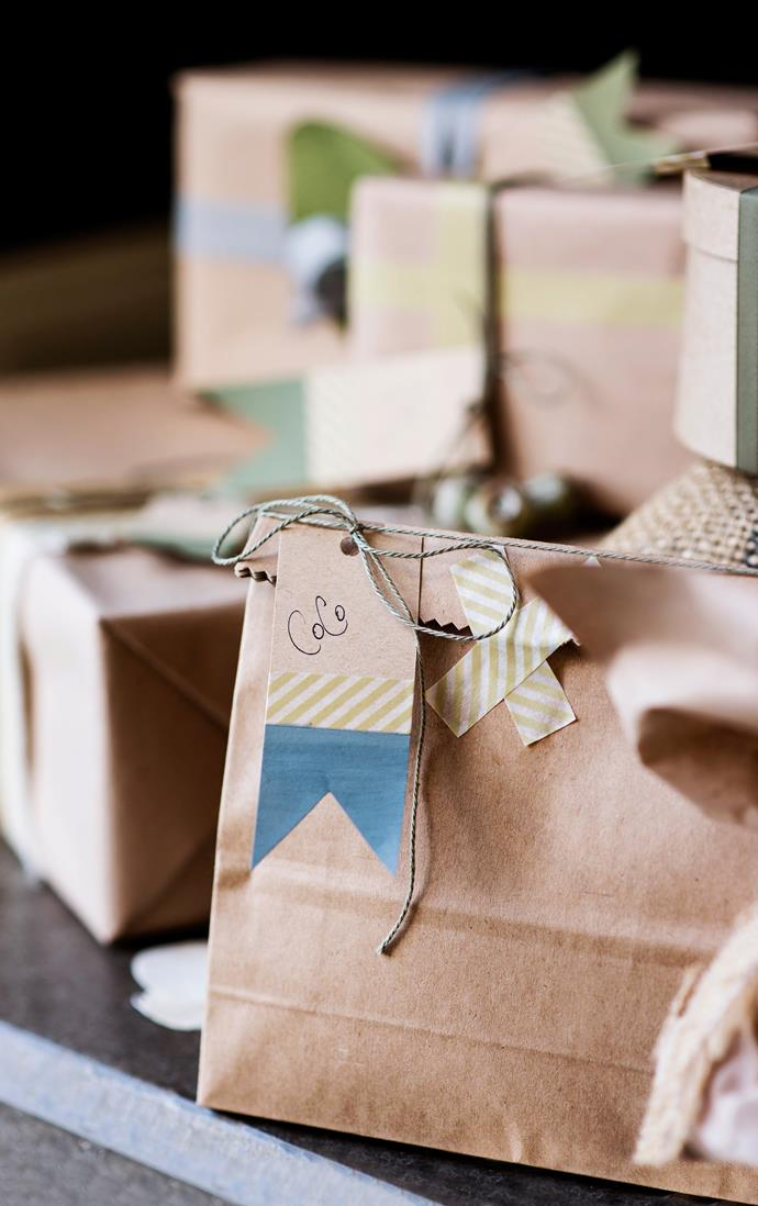 """On Christmas Day we wake up early to attend Mass, followed at home by Champagne and the opening of presents,"" says Joanne. Gifts wrapped in simple brown paper with Japanese washi tape."