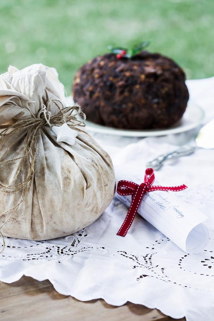 Christmas puddings made in advance by Catherine's mother Helen, from a recipe handed down through the generations, wrapped in calico and tied with string.