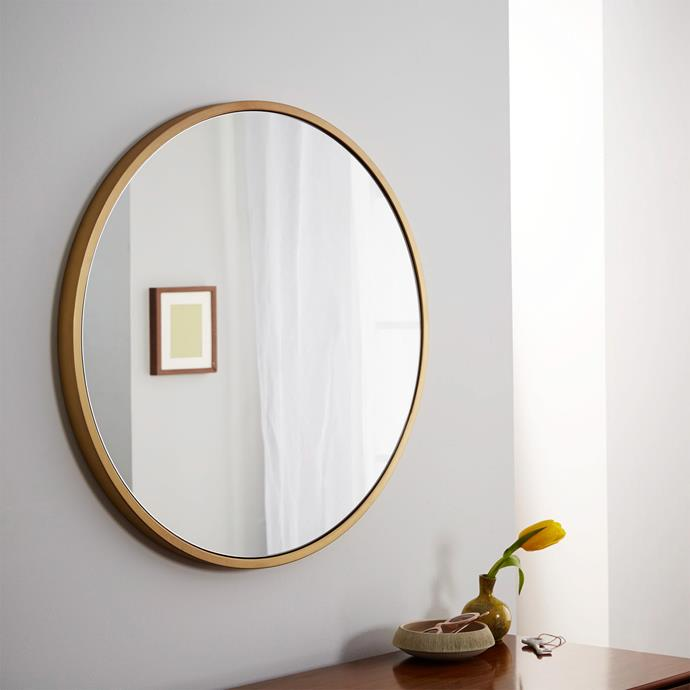 "Whether you hang it in the hallway, living room or over a bathroom vanity, this mirror's minimalist design will make it an easy fit in any style of room. Metal framed round wall **mirror** in antique brass, $299, from [West Elm](http://www.westelm.com.au/metal-framed-mirror-circle-w1612|target=""_blank""